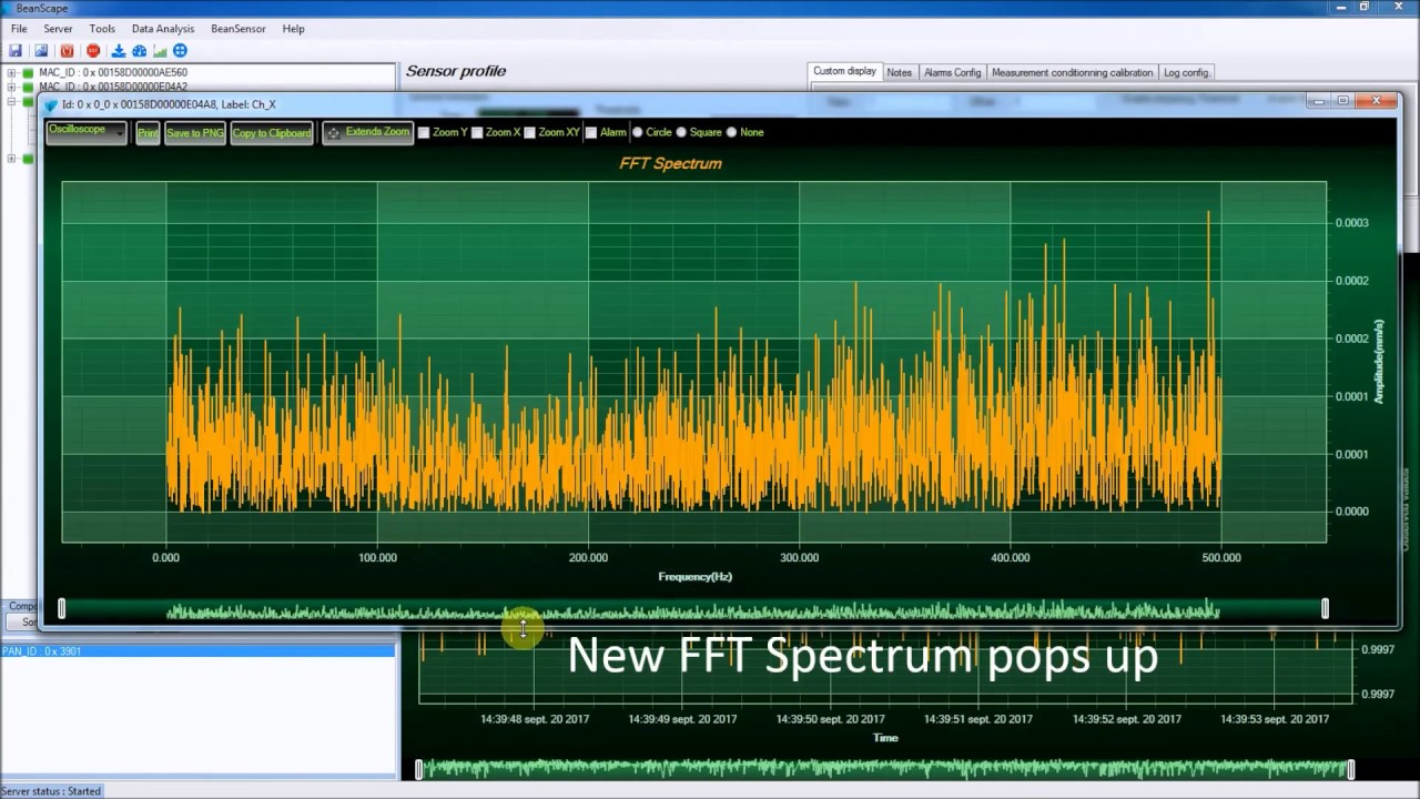 How to use Real Time FFT with wireless accelerometers
