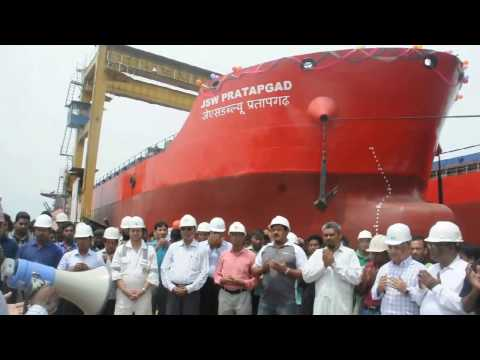 JSW PRATAPGAD Ship Launching Moment at Western Marine Shipyard Ltd.