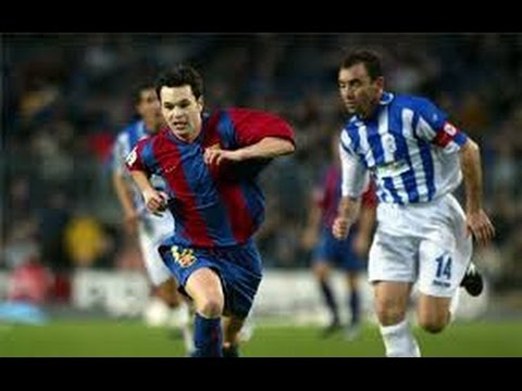 Debut Iniesta Liga Barcelona 3 0 Recreativo  Temporada 2002/2003