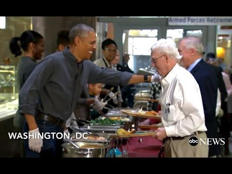 Obama Serves Thanksgiving Meal at Armed Forces Retirement Home