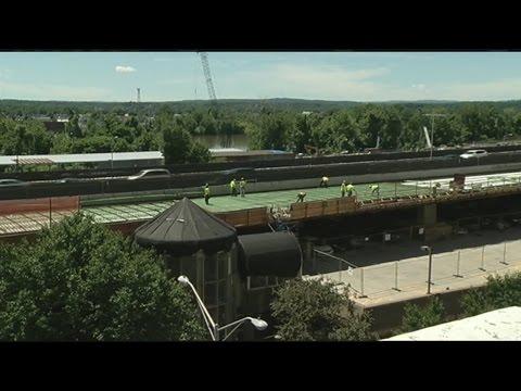 MassDOT secretary checks on toll booth demolitions in Westfield