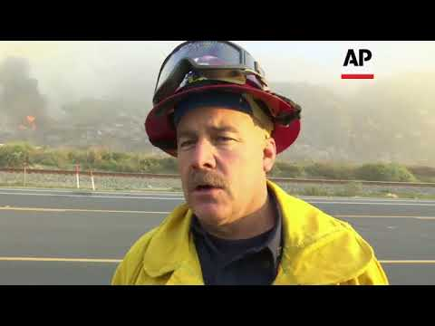 Highway travel disrupted by California wildfire