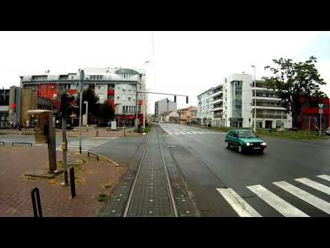 Osijek, Croatia, Tram route 1 - Rear view of track and infrastructure