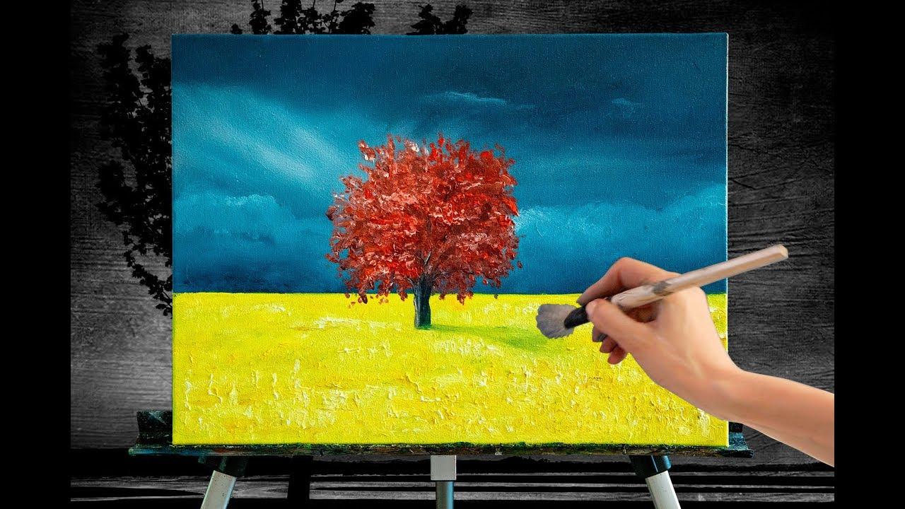 Картина Дерево жизни. Красивый пейзаж природы. Рисуем маслом пейзаж