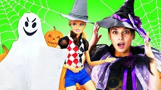 Куклы Барби украшают комнату на Хэллоуин. Halloween видео для девочек - Ох, уж эти куклы!