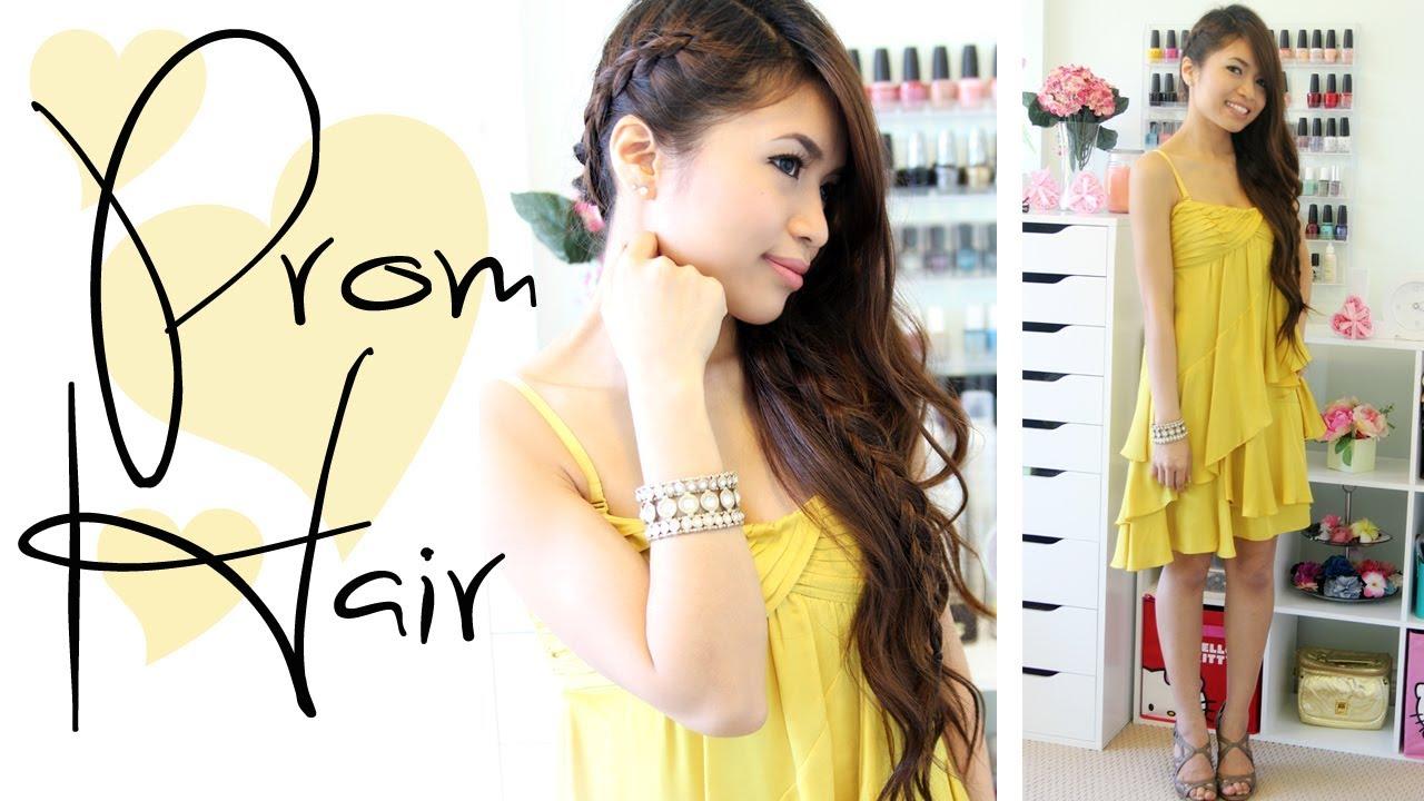 Prom Hairstyle Side Swept Braid Long Hair Tutorial Bebexo Youtube