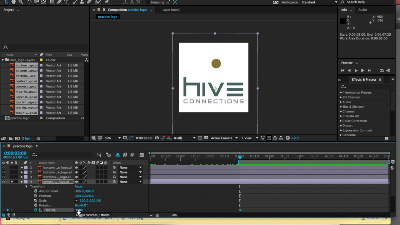 after effects opacity fade in fade out