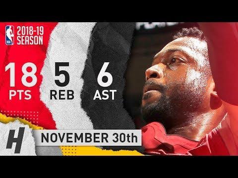Dwyane Wade Full Highlights Heat vs Pelicans 2018.11.30 - 18 Pts, 6 Ast, 5 Rebounds!