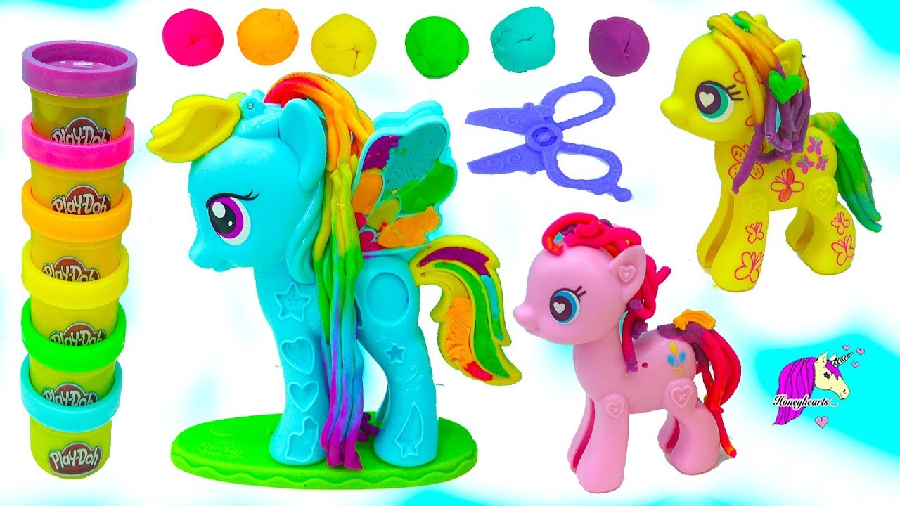My Little Pony Gaint Rainbow Dash Play Doh Hairstyle Hair Cut Makeover MLP Video