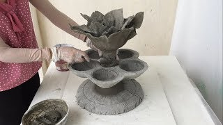 DIY - How To Make A Two-Story Flower Pot With Cement And Recycled Materials - Cement Craft Ideas