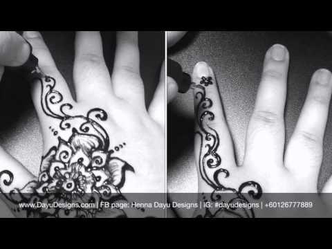 Lukisan Inai Bunga Kerawang / Swirl Floral Henna Drawing Tutorial