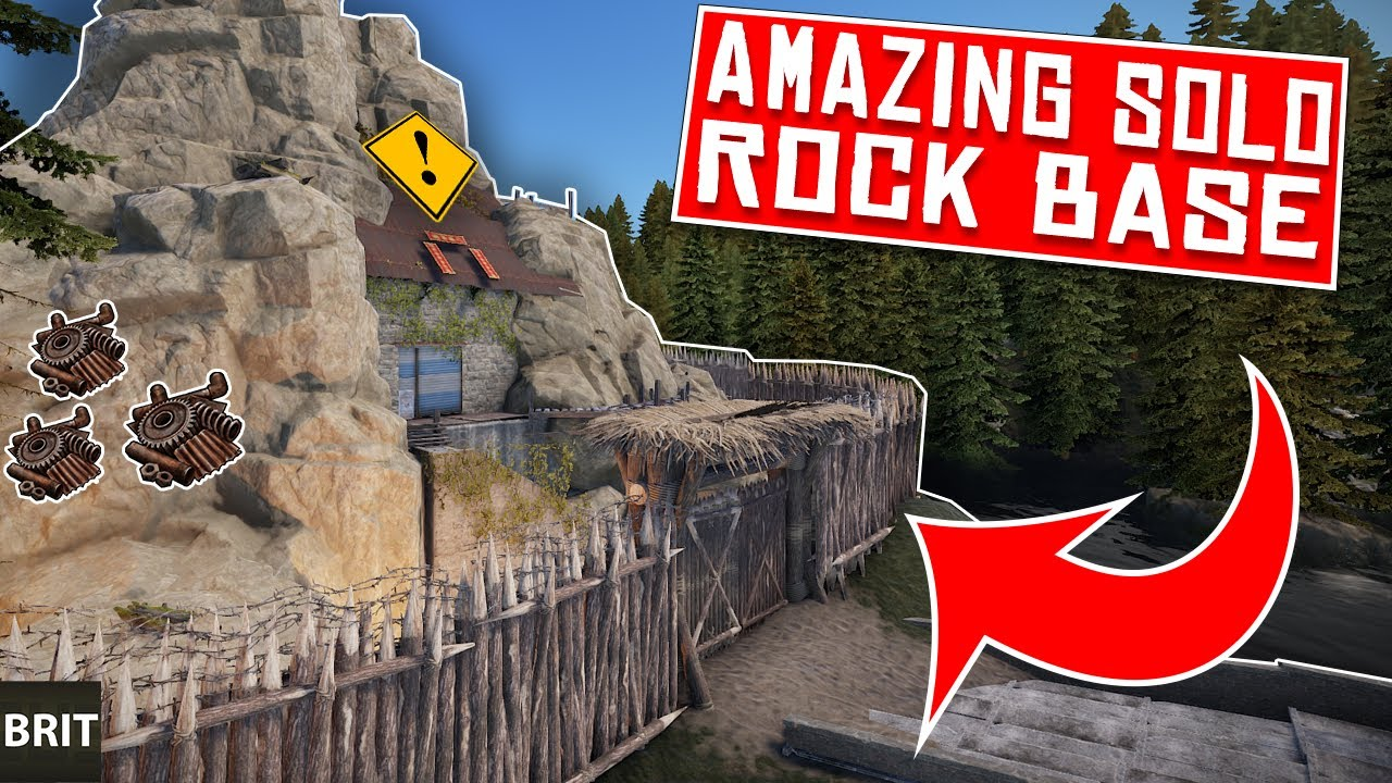 STARTING the AMAZING MOAT ROCK BASE - Rust SOLO