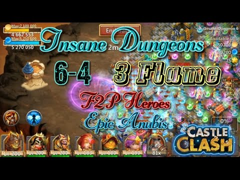 Castle Clash Insane Dungeon 6-4_3flame Anubis Strategy_Without Mino