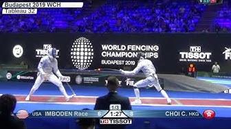 2019 244 T32 16 M F Individual Budapest HUN WCH RED CHOI HKG vs IMBODEN USA