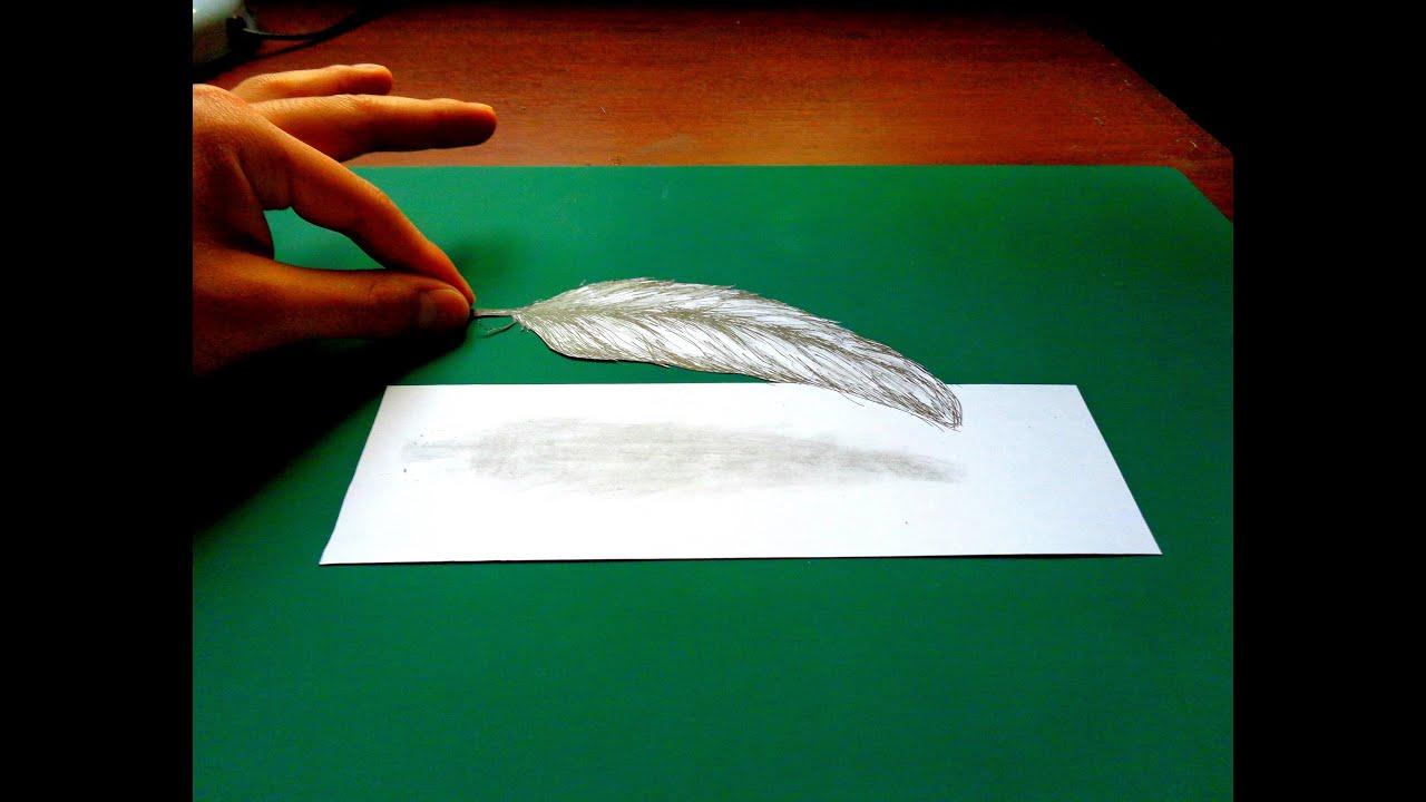 Como dibujar una pluma en 3D - Ilusión (paso a paso) | Selbor - YouTube