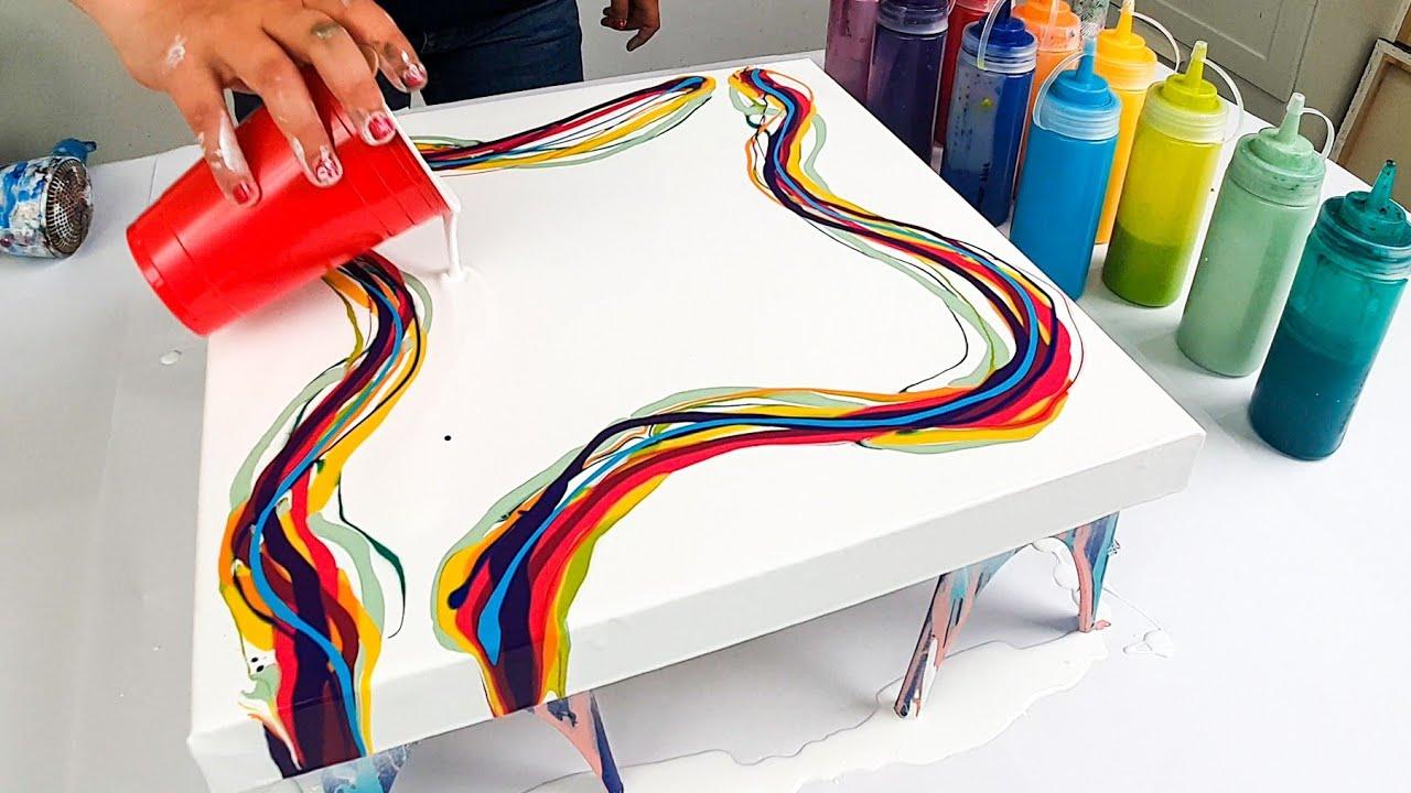 WOW! 12 Color Rainbow Pride Pour / Acrylic Pouring Technique