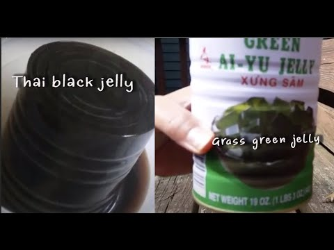 Thai black jelly VS Grass green jelly ป้าโอ้ทในอเมริกา