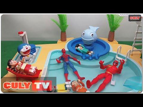 đồ chơi Doremon chế hài - Siêu nhân gao người nhện đi tắm hồ bơi cầu tuột nước cùng nobita xuka xeko