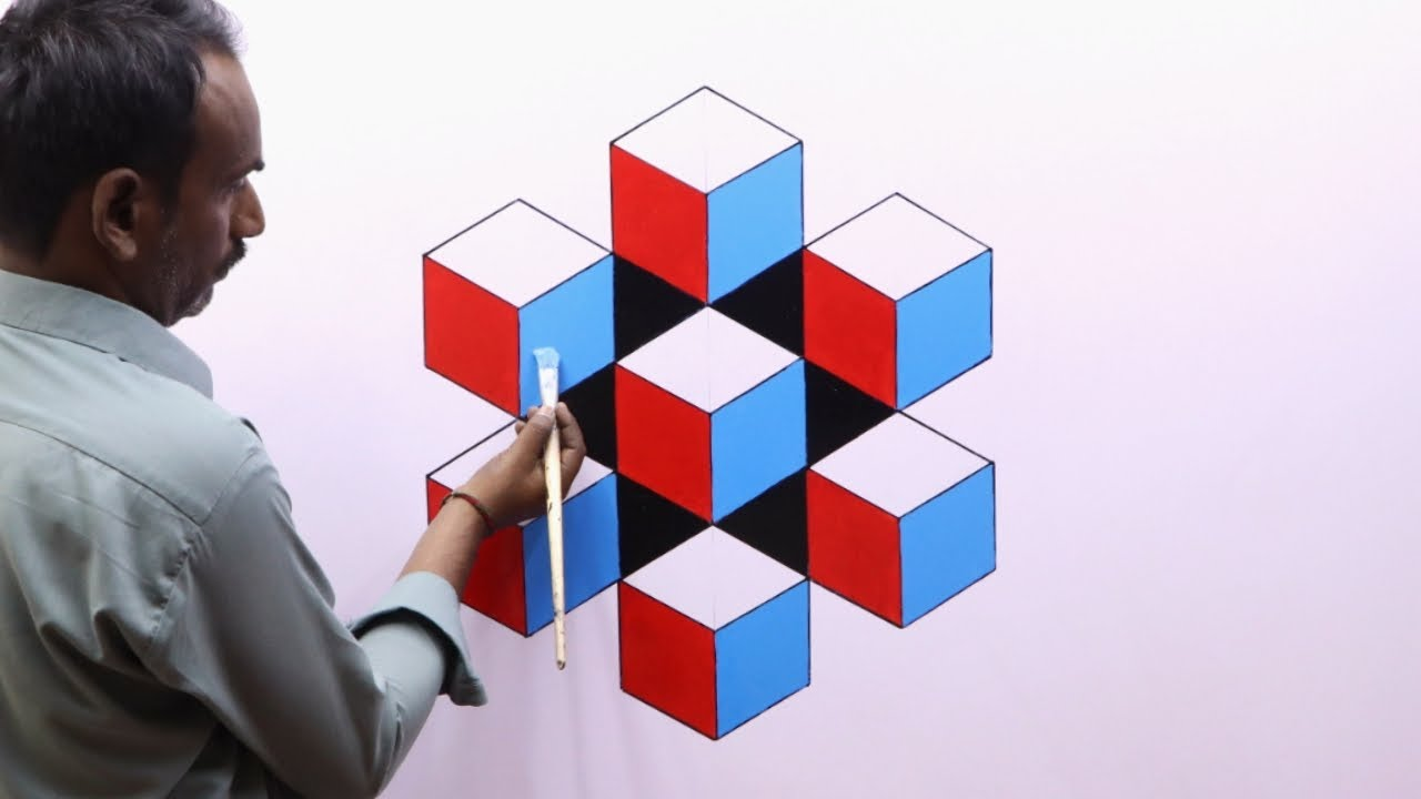 OPTICAL ILLUSION 3D WALL DESIGN | 3D WALL PAINTING DECORATION | INETRIOR DESIGN