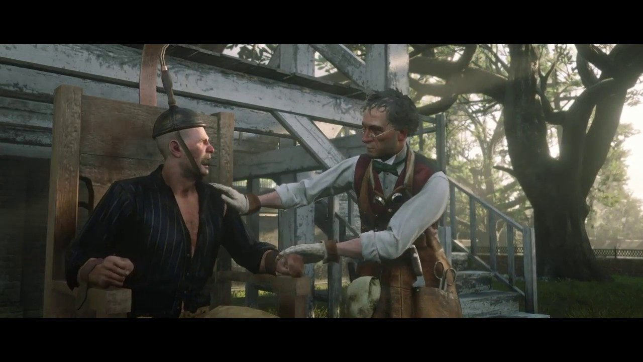 death by electric chair video golden lift chairs dealers rdr2 ps4 scene goofy professor youtube