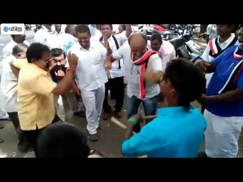 AIADMK Followers Celebrating Victory Video Outside The Party Office At Coimbatore
