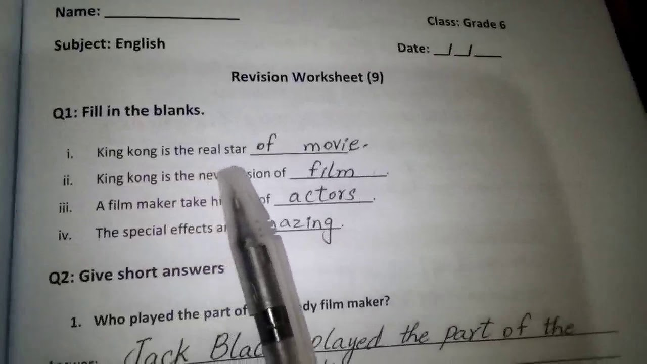 small resolution of 23. Grade 6 English revision worksheet 9 (14-1-2021) - YouTube