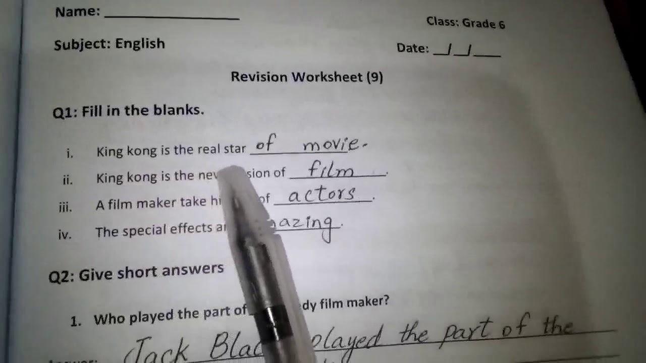 medium resolution of 23. Grade 6 English revision worksheet 9 (14-1-2021) - YouTube
