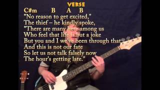All Along The Watchtower - Bass Guitar - C#m B A - Cover Lesson with TAB Lyrics