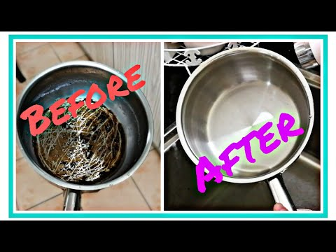 How To Clean Burnt Pan  or Pot Easily | How To Clean With Baking Soda 『清洗焦黑锅教学』