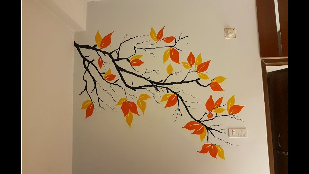 Easy Wall Painting Design  Nature With Tree
