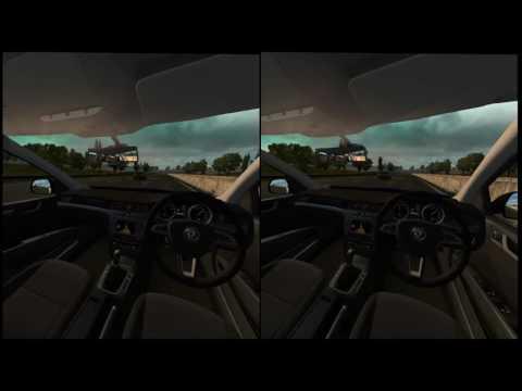 UK Open World Driving in VR Super-sampled at 4K OMG !!! Vive and G27 modded ETS2,