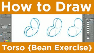 How to Draw { Bean Torso Exercise }