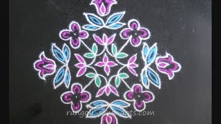 Rangoli design with dots (15 to 1 dot grid)