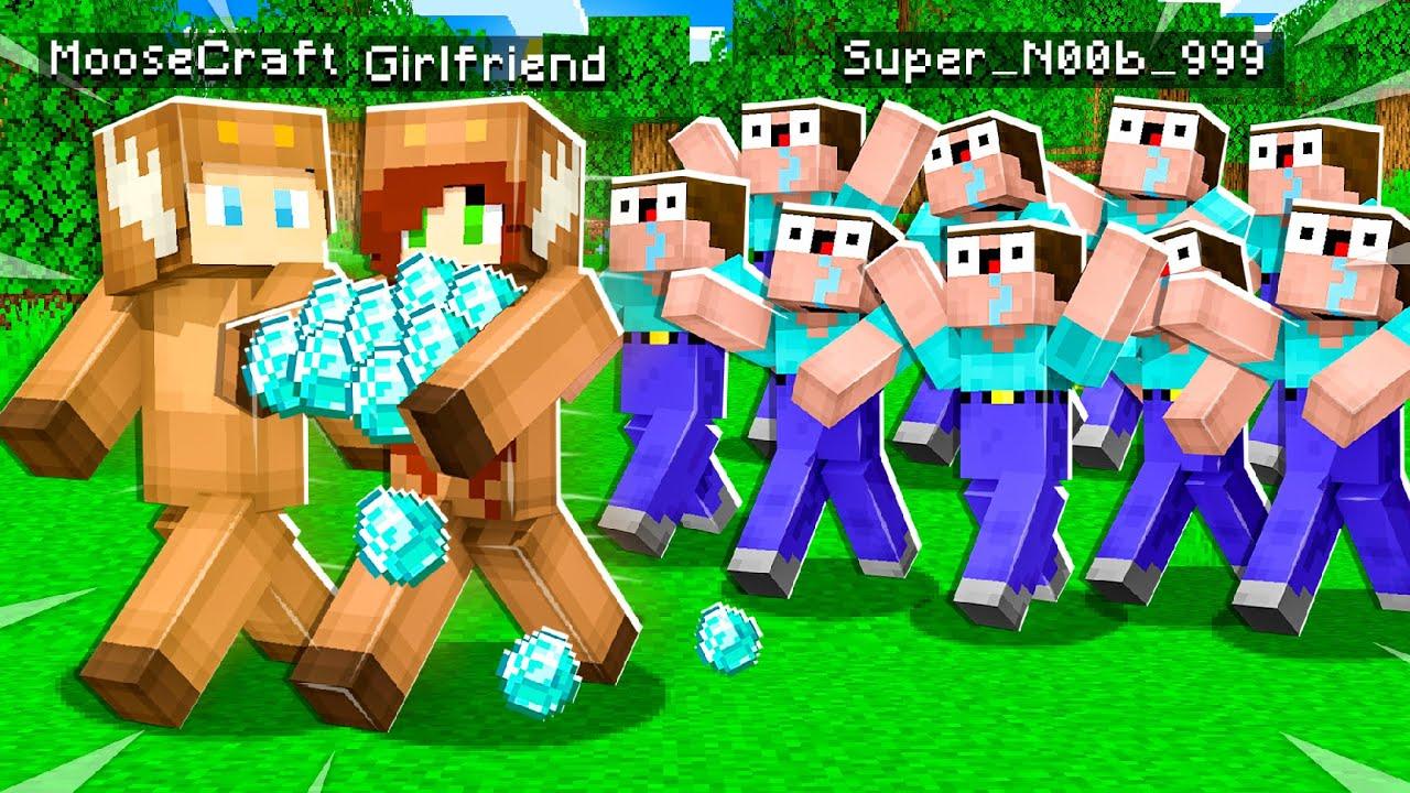 MY GIRLFRIEND FOUND THE DUMBEST PLAYER in Minecraft! - A NOOB Movie