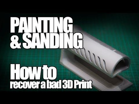 Recover a bad 3D print by sanding and painting it