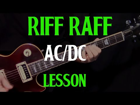 "how to play ""Riff Raff"" by AC/DC – guitar lesson rhythm"