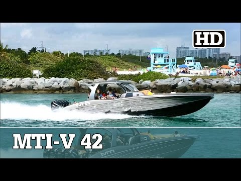 MTI-V 42 with Quad Mercury 350's Running out  - YouTube