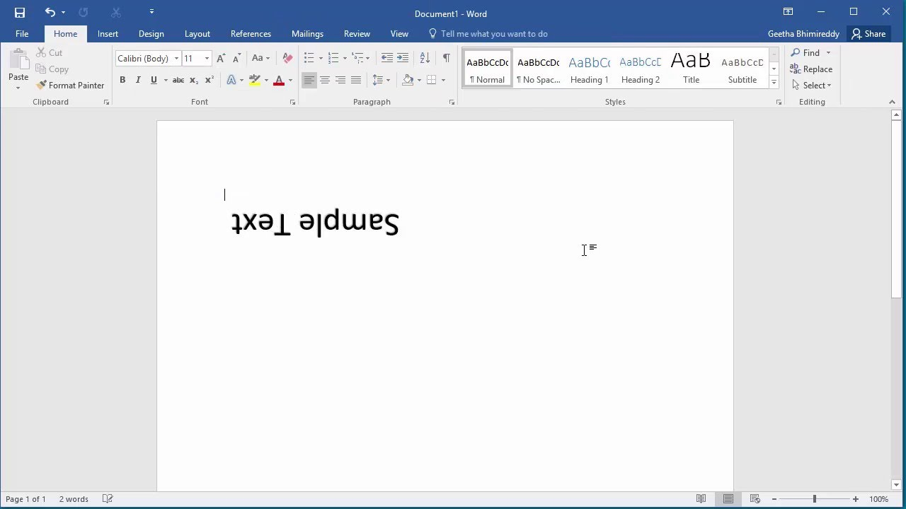 How to Create Upside Down Text in Word 2016 - YouTube