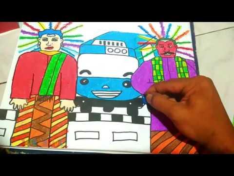 Menggambar Ondel Ondel Feat Tayo How To Draw Ondel Ondel Feat Tayo