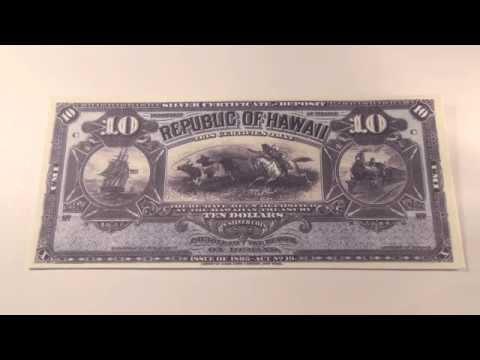 1895 $10 Republic of Hawaii Silver Certificate Note