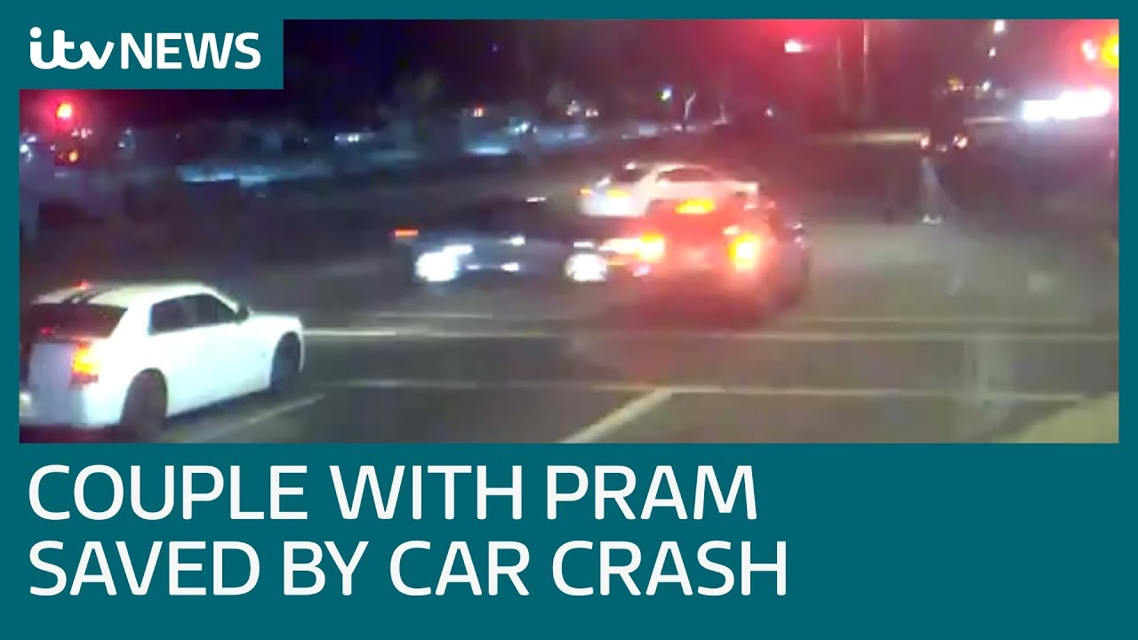Couple narrowly avoids being hit by speeding car running a red light | ITV  News