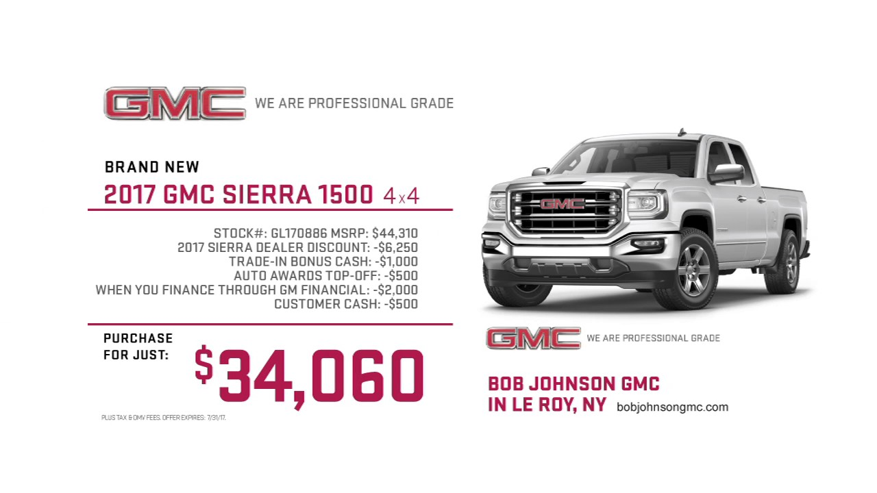 2017 gmc sierra 1500 4x4 purchase for just 34 060 new