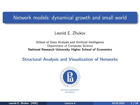 Network Analysis. Lecture 4. Small world and dynamical growth models.