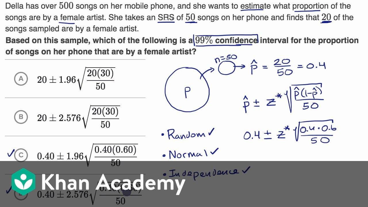 Example constructing and interpreting a confidence interval