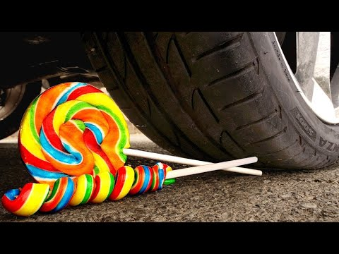 experiment:-car-vs-lollipops-crushing-crunchy-&-soft-things-by-car!
