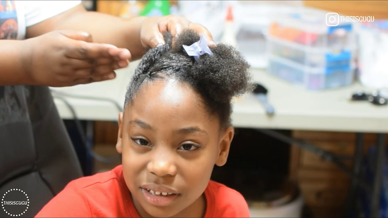 Quick And Easy Kids Girls Natural Hairstyle On Short Hair