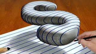 3D Trick Art On Line Paper, Floating Letter S # Mr. Ravy
