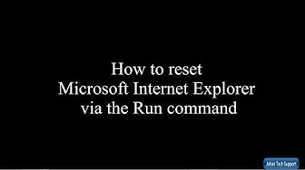 Reset Internet Explorer via Run command