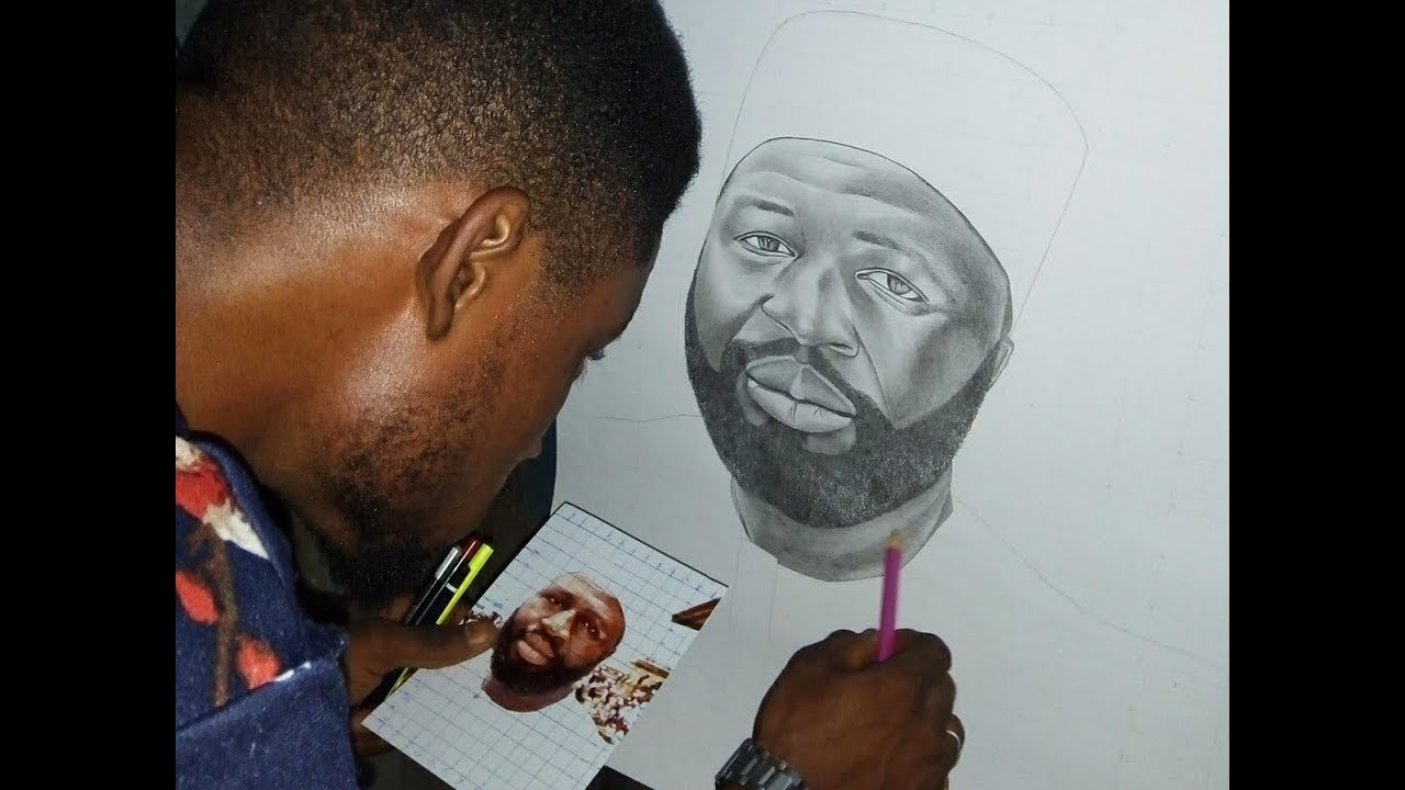 Osama behind the scenes pencil drawing