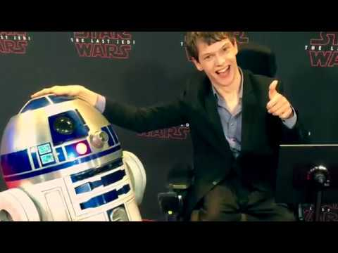 Micah Fowler races with R2D2